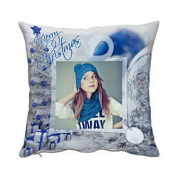 Two-colour satin cover 38 x 38 cm for sublimation printing - Blue XMAS