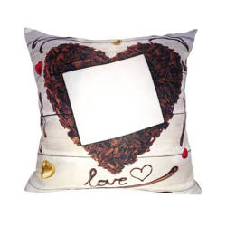 Two-colour satin cover 38 x 38 cm for sublimation printing - Chocolate heart