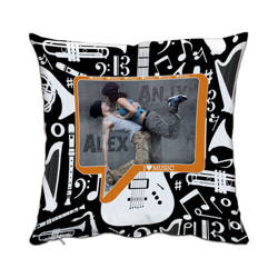 Two-colour satin cover 38 x 38 cm for sublimation printing - I ♥ music