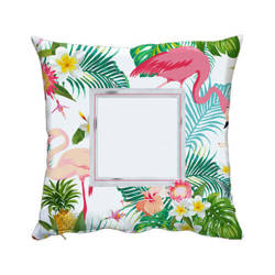 Two-colour satin cover 50 x 50 cm for sublimation printing - Flamingo