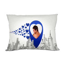 Two-colour satin cover 70 x 40 cm for sublimation printing - Blue hearts