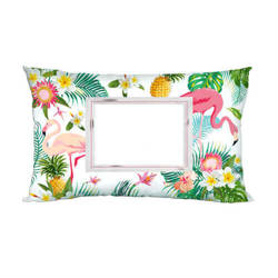 Two-colour satin cover 70 x 40 cm for sublimation printing - Flamingo