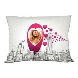 Two-colour satin cover 70 x 40 cm for sublimation printing - Pink hearts