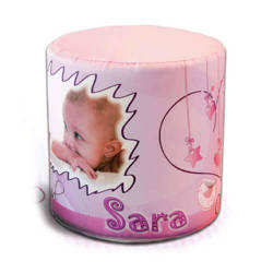 Two-colour satin cover for round pouf for sublimation printing - Pink