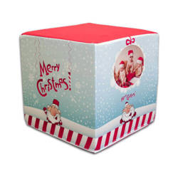 Two-colour satin cover for square pouf for sublimation printing - Merry Christmas