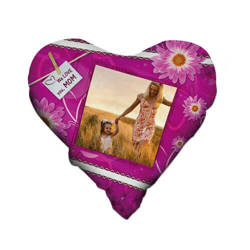 Two-colour satin hearth-shaped cover for sublimation printing - Fuxia
