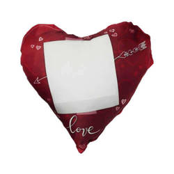 Two-colour satin hearth-shaped cover for sublimation printing - Love