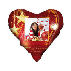 Two-colour satin hearth-shaped cover for sublimation printing - Merry Christmas