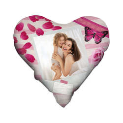 Two-colour satin hearth-shaped cover for sublimation printing - Rose