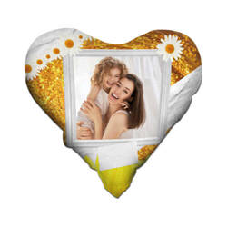 Two-colour satin hearth-shaped cover for sublimation printing - Sun
