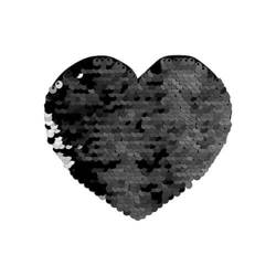Two-colour sequins for sublimation printing and textile applications – black heart 12 x 10,5 cm
