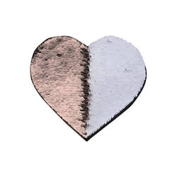 Two-colour sequins for sublimation printing and textile applications – champagne heart 22 x 19,5 cm