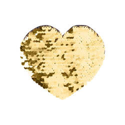 Two-colour sequins for sublimation printing and textile applications – gold heart 12 x 10,5 cm