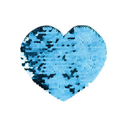 Two-colour sequins for sublimation printing and textile applications – light blue heart 12 x 10,5 cm