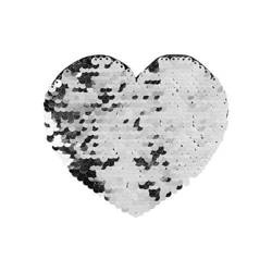 Two-colour sequins for sublimation printing and textile applications – silver heart 12 x 10,5 cm