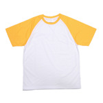 White T-shirt with yellow sleeves JSubli Apparel XL /Asia/ Sublimation Thermal Transfer