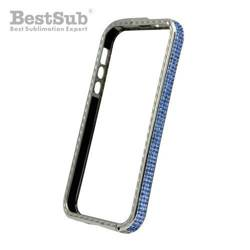 iPhone 5/5S plastic case silver with blue crystals Sublimation Thermal Transfer