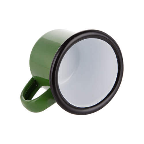 100 ml enamelled mug green with black edge lining for thermo-transfer printing