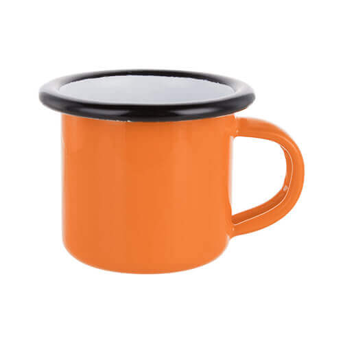100 ml enamelled mug orange with black edge lining for thermo-transfer printing