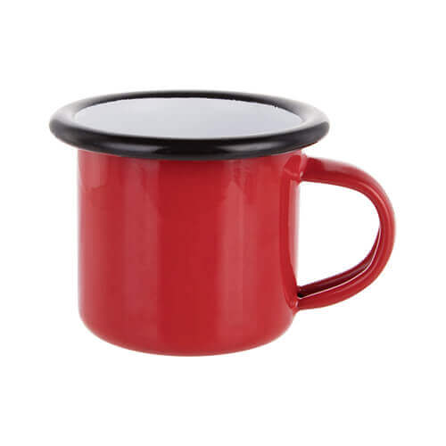 100 ml enamelled mug red with black edge lining for thermo-transfer printing