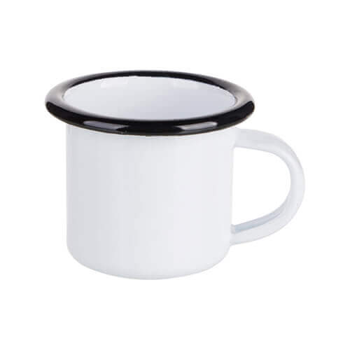 100 ml enamelled mug white with black edge lining for thermo-transfer printing