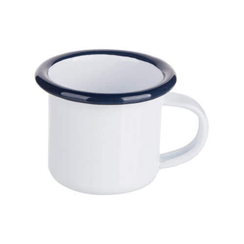 100 ml enamelled mug white with navy blue edge lining for thermo-transfer printing
