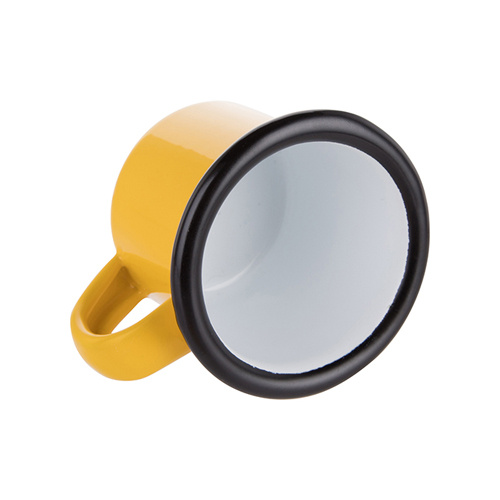 100 ml enamelled mug yellow with black edge lining for thermo-transfer printing