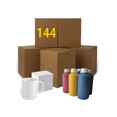 144 pcs white sugs 300 ml A+ with box + 100 ml sublimation ink Sublimation Thermal Transfer