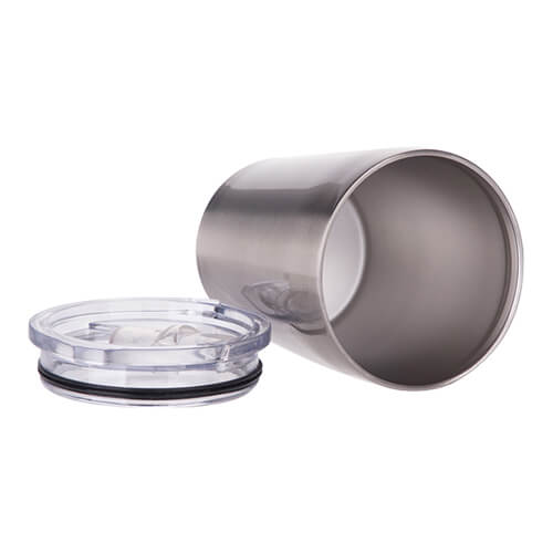 240 ml metal mug for milk with sublimation lid - silver