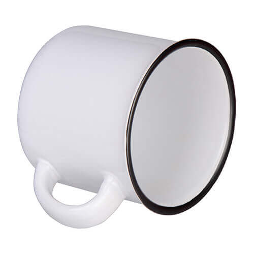 300 ml enamelled ceramic mug for sublimation printing - white with black lining on the edge