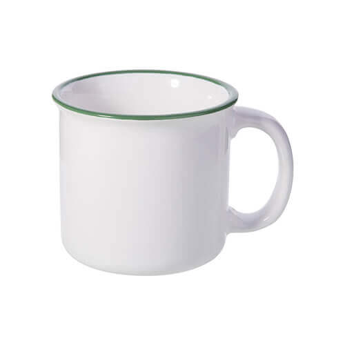 300 ml enamelled ceramic mug for sublimation printing - white with green lining on the edge