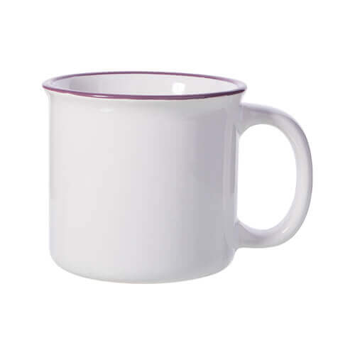 300 ml enamelled ceramic mug for sublimation printing - white with purple lining on the edge