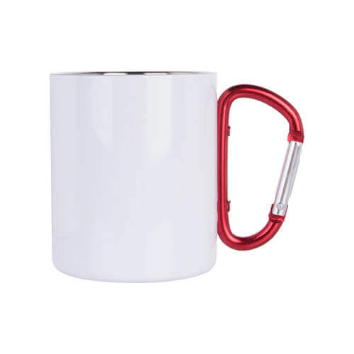 300 ml metal cup with snap hook  for sublimation - white