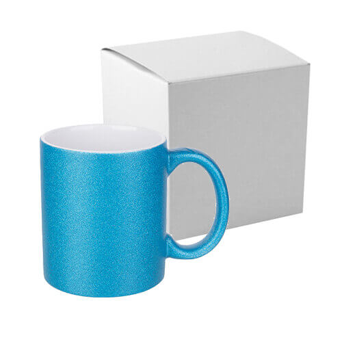 330 ml glitter mug for sublimation printing with box - blue