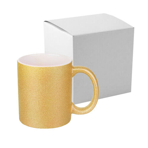 330 ml glitter mug for sublimation printing with box - gold