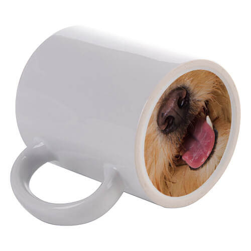 330 ml mug with a dog's tongue imprinted on the bottom for sublimation printing