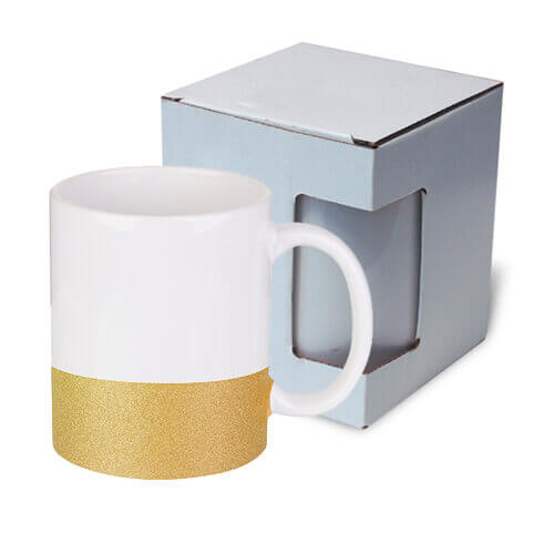 330 ml mug with a glitter strap for sublimation printing with box - gold