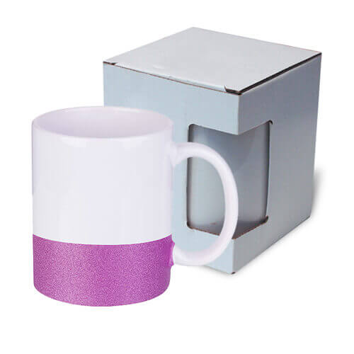 330 ml mug with a glitter strap for sublimation printing with box - purple