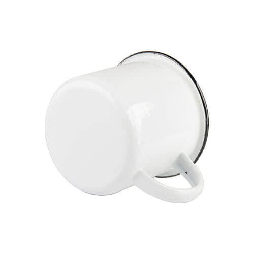 340 ml enamelled mug with black edge lining for thermo-transfer printing