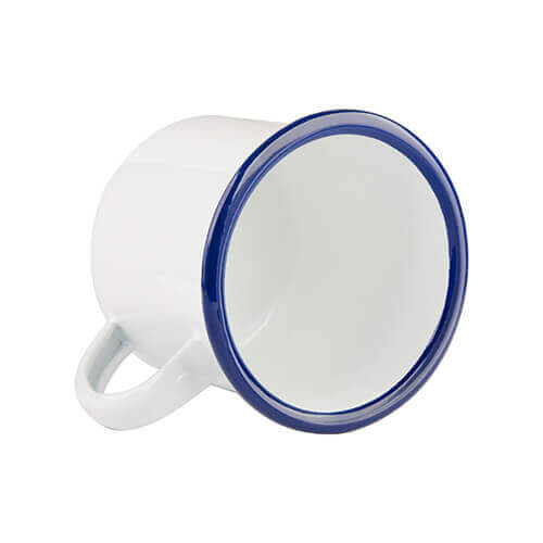 340 ml enamelled mug with blue edge lining for thermo-transfer printing