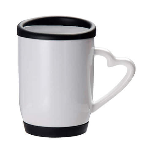 360 ml mug with black silicone lid and coaster for sublimation printing