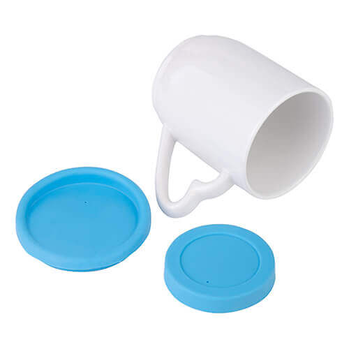 360 ml mug with light blue silicone lid and coaster for sublimation printing