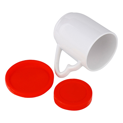 360 ml mug with red silicone lid and coaster for sublimation printing