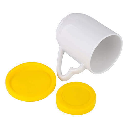 360 ml mug with yellow silicone lid and coaster for sublimation printing