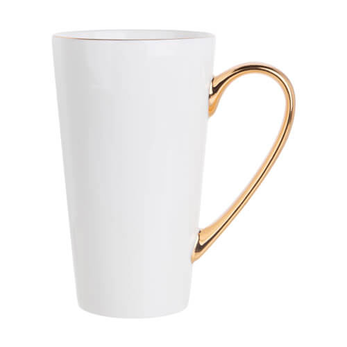 450 ml Gold rim/handle latte mug