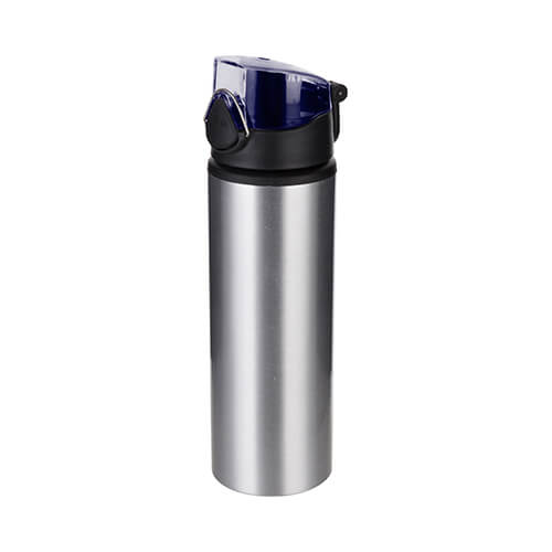750 ml metal water bottle for sublimation – silver with blue closure