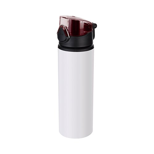 750 ml metal water bottle for sublimation – white with red closure