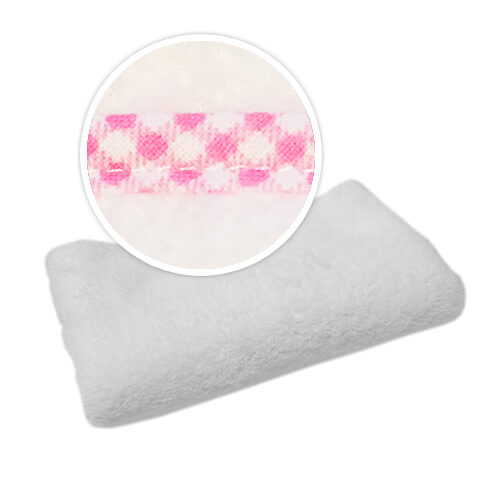 Blanket with trimming in pink checked pattern Sublimation