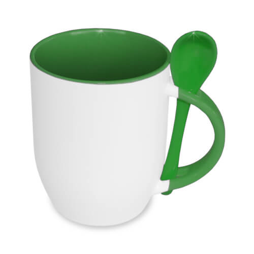 JS-Coating mug with spoon green Sublimation Thermal Transfer