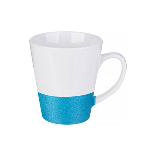 Latte mug 300 ml with a glitter strap for sublimation printing - blue